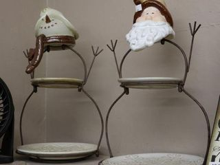 SNOWMAN AND SANTA TIERED SERVING DISHES 22