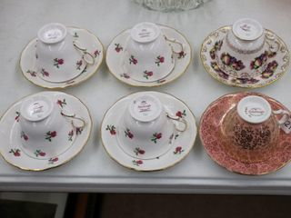 6 COlOlOUGH CUPS AND SAUCERS