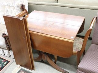 DROP lEAF ClAW FOOT TABlE AND 2 CHAIRS AND 2