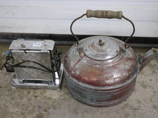 ANTIQUE TOASTER AND KETTlE