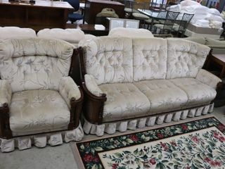 CHESTERFIElD AND CHAIR WITH WICKER SIDES