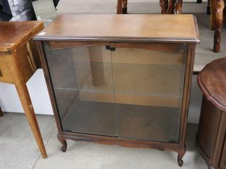 GlASS DOOR CABINET WITH GlASS SHElVES 31 X14 X33
