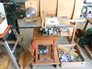 INCA 341 017 10  TABlE SAW WITH CART  BlADES AND