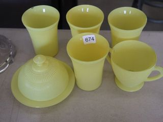 GROUP OF YEllOW GlASS DISHES