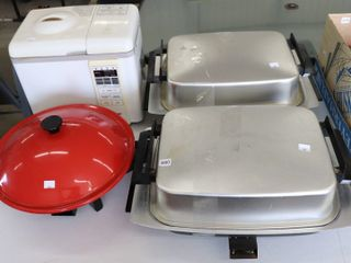 2 ElECTRIC FRYING PANS  WOK AND BREAD MAKER