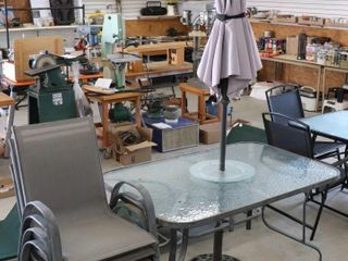GlASS TOP PATIO TABlE WITH UMBREllA AND 4 CHAIRS