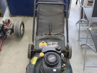 YARD WORKS lAWN MOWER WITH BAGGER   AS IS