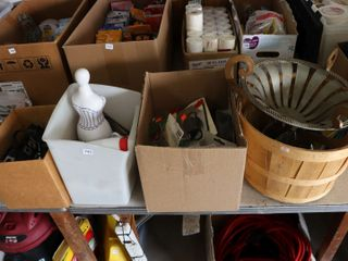 GROUP OF ClAMPS PlUGS  GlASSWARE  BASKETS ETC