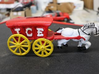 CAST IRON ICE HORSE AND WAGON REPRO