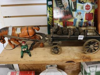 CAST IRON HORSE AND BARREl WAGON REPRO 22 l