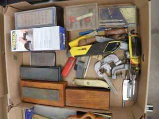 BOX OF SHARPENING STONES  KNIVES  ETC