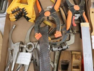 BOX OF VISE GRIPS  ClAMPS  PlANES ETC