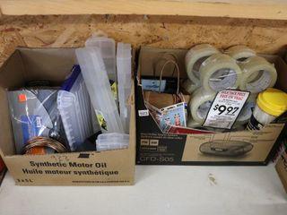 2 BOXES OF TAPE  ORGANIZERS  ZIP TIES ETC