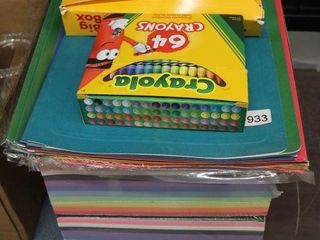 GROUP OF NOTEPADS  CRAYONS ETC