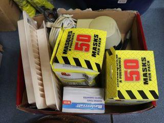 BOX OF DUST MASKS  REGISTER VENTS ETC