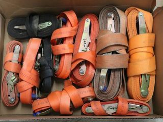 BOX OF ASSORTED RATCHET STRAPS
