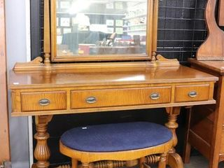 CHERRY VANITY WITH MIRROR AND BENCH 46 X62