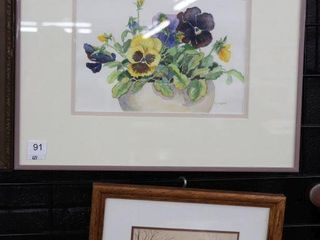 FRAMED WATERCOlOUR AND PRINT 16 X13    11 X9