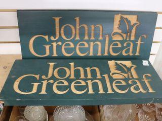 2 JOHN GREEN lEAF WOODEN SIGNS 24 X9