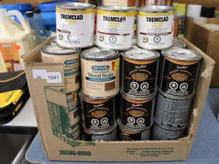 GROUP OF ASSORTED WOOD STAIN AND PRIMER
