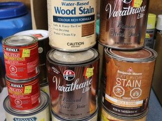 GROUP OF ASSORTED WOOD STAIN AND CONDITIONER