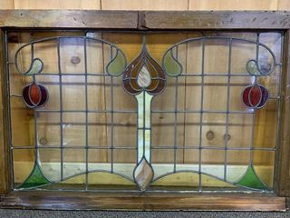 Antique Stained Glass Window in Frame