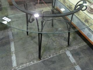 Very Nice Round Glass Top Table with Black Metal Base