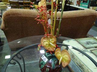 Oriental Affent Decorative Vase with Faux Plants