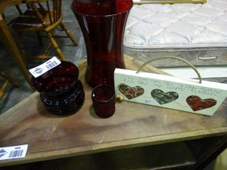 lot of Red Glass Vases and Heart Wall Art