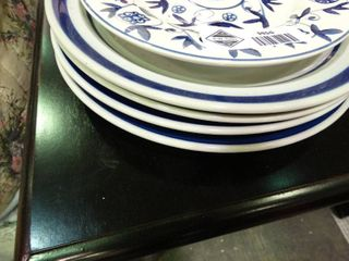 lot of Plates with Blue Designs
