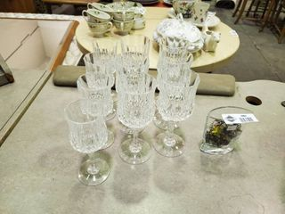 Set  10  Cut Glass   Drinking Glass with Glass Vase and Misc  Costume Jewelry
