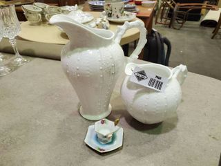 2  Paris Royal White Ceramic Pitchers and Decorative Miniature Tea Cup