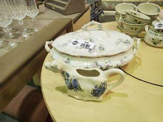 Ceramic Cow Creamer   Floral Dish
