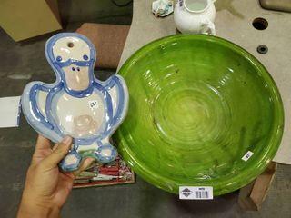 large Ceramic Green Dish   Handmade Decorative Duck Decor