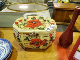 Unique Handmade Floral Print Box   Red Vase   Red Picture Frame