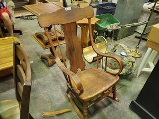 Antique Wooden Rocking Chair  Right Rear leg Broken