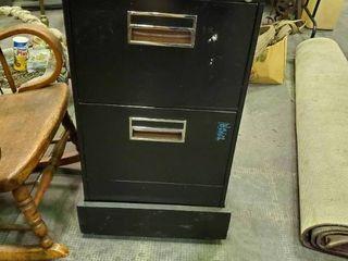 2 Drawer Black Metal Filing Cabinet on wheels