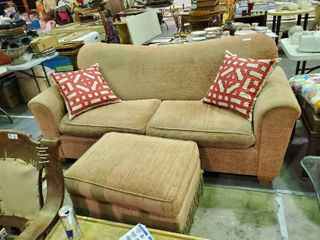 Pink Couch with Matching Ottoman (Pillows not Included)-- Approx. 84
