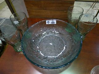 large Glass Blue Bowl with 4 Cocacola Glasses
