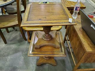 2  Small Wooden End Tables  H  18