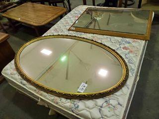 large Golden Famed Mirror  l  53  W  33