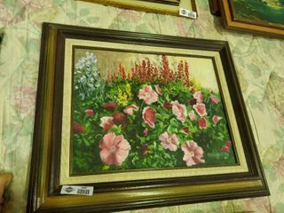 Floral Painting on Canvas  by  B  Gambrill