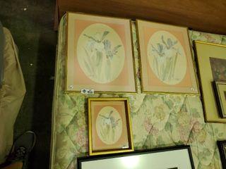 3  Framed Floral Prints  by  M  Storm