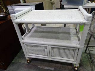 White Wicker and Wood Media Cart on Wheels