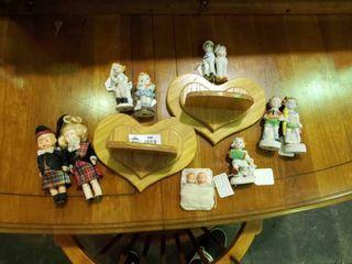 Wooden Heart Wall Decor w  Assorted Child Porcelain Dolls