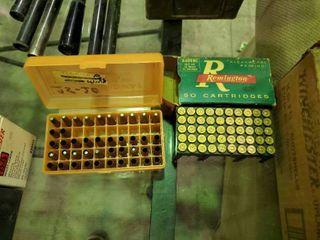 Partial Box of Remington 25 20 Winchester Ammunition and Partial Plastic Ammunition Case
