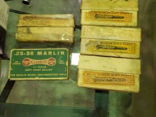 5 Vintage Boxes of 25 36 Marlin Ammunition  3 Full Boxes and 2 Partial