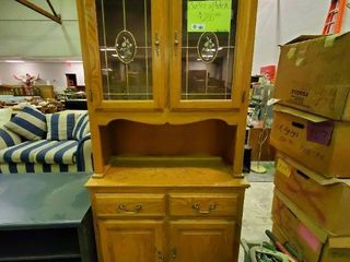 large Buffet With lighted Hutch  H  79  x l  37  x W  16