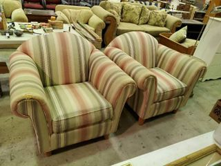 2  Pair of Stripped lounge Chairs  Made Kravet Furniture   small tare
