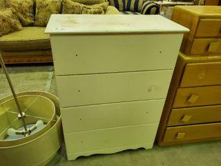 White 4 Drawer Dresser  H  43  l  32  W  16